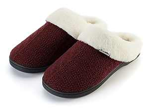 Joomra Women's Fuzzy House Slippers Memory Foam Home Mules Size 11 12 Soft Warm Winter Female Slip on Bedroom Shoes With Faux Fur Lining Indoor Shoes Pantuflas Para Mujer Wine Red