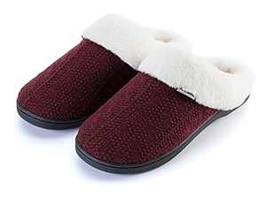Joomra Womens House Slippers With Memory Foam Knit Fuzzy Home Mules Size 9 10 Soft Indoor Ladies Warm Winter Slip on Bedroom Shoes With Faux Fur Lining Wine Red