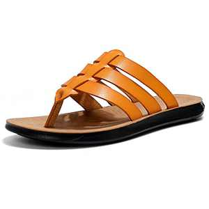 Mens Thong Sandals,Leather Flip Flops Comfort Slippers for Indoor and Outdoor Beach
