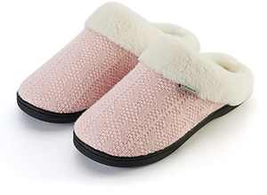 Joomra Women's Fuzzy House Slippers Memory Foam Home Mules Size 11 12 Soft Warm Winter Female Slip on Bedroom Shoes With Faux Fur Lining Indoor Shoes Pantuflas Para Mujer Pink