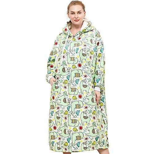 Moosth Warm Sherpa Wearable Blanket Hoodie with Sleeves Oversized Soft Flannel Alpaca Plush Blanket Sweatshirt Gifts for Men and Women 47 Inch (Alpaca)