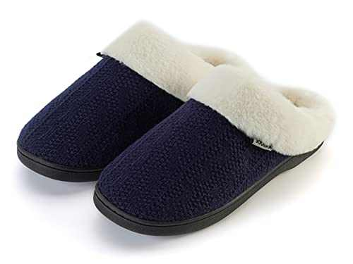 Joomra House Slippers for Women Memory Foam Size 5 6 Fuzzy Soft Ladies Winter Warm Lightweight Comfortable Lining Flats Home Bedroom Shoes Indoor Pantuflas Para Mujer Blue