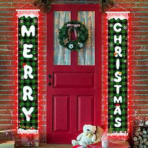 Christmas Decorations Banners with String Light - Snow Pattern Merry Christmas Party Decor, Green Plaid Xmas Hanging Banner for Outdoor/Indoor Home Front Door, 600D Fabric Porch Sign, Hemming Strip Lights