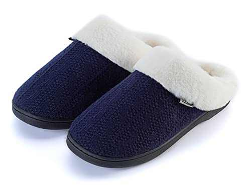 Joomra Womens House Slippers With Memory Foam Fuzzy Warm Size 7 8 Anti Slip Soft Fur Lined Winter Comfortable Indoor Ladies Plush Home Lightweight Close Toe Bedroom Shoes Blue