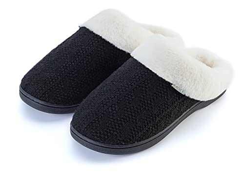 Joomra Women Slip Slippers Warm Comfy Fluffy Home Shoes Size 5-6 Memory Foam Slides Soft Light Booties For Mom Best Gift Indoor Winter Bedroom Sleep Footwear Black 37