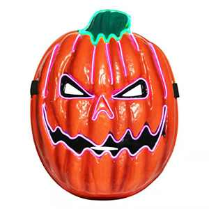 Halloween Pumpkin Light Up Mask EL Wire Scary Mask for Halloween Festival Party, Costume Cosplay Party Decoration (Purple+Green)