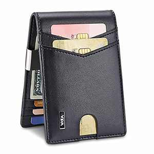 WXM Mens Wallet Minimalist Wallet Credit slim Front Pocket RFID Blocking Card Holder with Money Clip and RFID Wallet Protection Slim Wallets Men Gifts