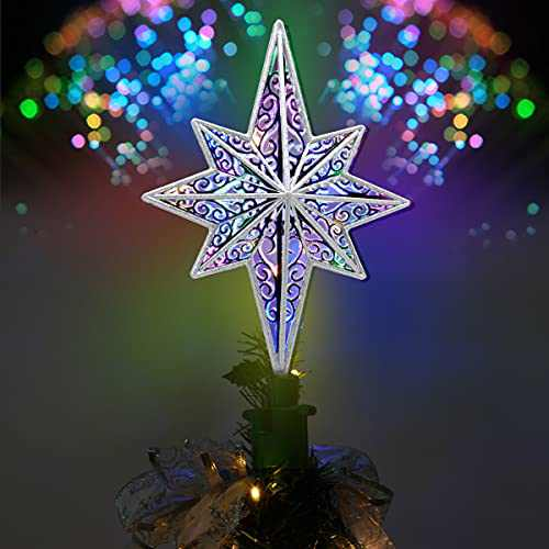 Christmas Tree Topper, Yocuby Hollow Silver Star Christmas Tree Topper Lighted with LED Rotating Magic Ripple Projector for Crown Xmas Tree Topper Decoration Wall Party Holiday Déco
