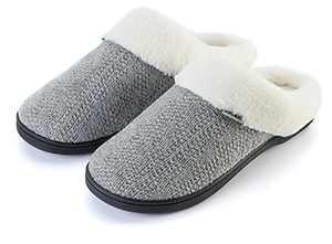 Joomra Women Slip Slippers Warm Comfy Fluffy Home Shoes Size 5-6 Memory Foam Slides Soft Light Booties For Mom Best Gift Indoor Winter Bedroom Sleep Footwear Grey 37