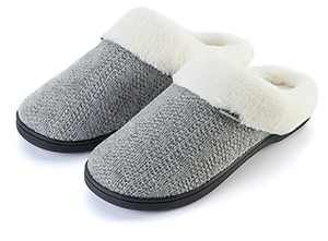 Joomra Womens House Slippers With Memory Foam Knit Fuzzy Home Mules Size 9 10 Soft Indoor Ladies Warm Winter Slip on Bedroom Shoes With Faux Fur Lining Grey
