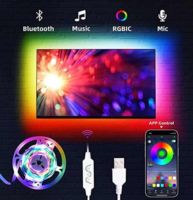 TV Blacklights LED Strip Lights Dreamcolor DAYMEET RGBIC Color Changing Music Sync App Control USB for Bedroom TV (Dreamcolor-3m)