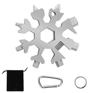18 In 1 Snowflake Multi Tool, Stainless Steel Snowflake Tool, Portable Outdoor Travel Camping Adventure Daily Tool, Great Christmas gift(Silver)