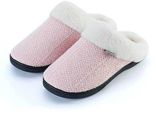 Joomra Womens House Slippers With Memory Foam Knit Fuzzy Home Mules Size 9 10 Soft Indoor Ladies Warm Winter Slip on Bedroom Shoes With Faux Fur Lining Pink