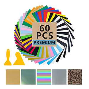 """AOEDEO Heat Transfer Vinyl HTV Bundle: 57 Pack 12"""" × 10"""" Heat Transfer Vinyl Bulk for T-Shirt, 25 assorted Colors HTV Vinyl with 5 special color, 2 Scrapers and 1 Teflon Sheet for DIY Iron On T-Shirts"""