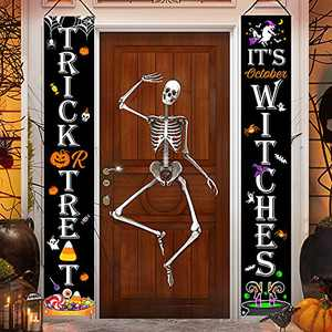 Bonsai Tree Halloween Decorations, Trick or Treat It's October Witches Banners for Front Door, Pumpkins Ghosts Welcome Hanging Porch Sign for Home Yard Wall Decor Indoor Outdoor Party 12 x 71 Inch