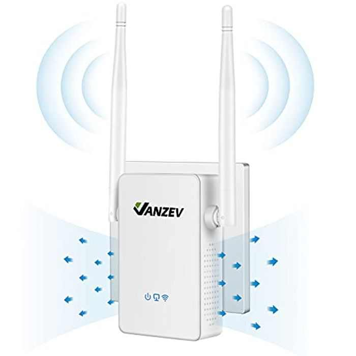 VANZEV Wifi Booster Range Extender 1200Mbps, Powerful Extend Dual Band WiFi of 5GHz & 2.4GHz, Easy Setup Wireless Internet Signal Repeater, Up to 32 Connections, 1 Ethernet Port, Access Point