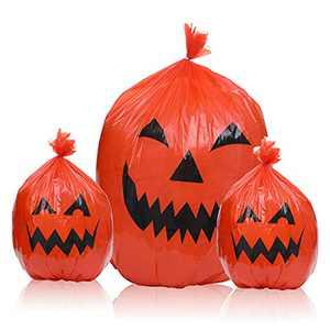 ZIIDOO Halloween Pumpkin Leaf Bags,3 Pumpkin Trash Bags for Leaves,Halloween Leaf Bags with Twist Ties