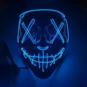 JRrutien LED Mask Halloween Cosplay Scary Blue Purge Mask Light Up for Halloween Festival Costume Party Carnival Gifts for Adults Kids
