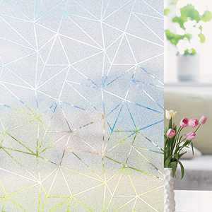Beautysaid Window Film, Privacy Film Non Adhesive Frosted Glass Film Static Cling, Window Sticker Anti-UV Decorative Window Film for Living Room Kitchen, 11.8x78.7inch Triangle Geometry