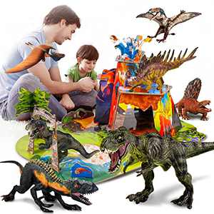 3D Dinosaur Toys Set,7 PCS Dinosaur Figures with 30 Piece 3D Jigsaw Puzzles,Realistic Large Dinosaur World for Toddler Children Preschool Learning Educational,Party Gifts and Birthday Favors