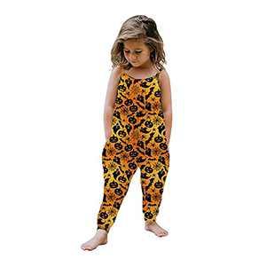 GLIGLITTR Toddler Baby Girl Jumpsuit One Piece Dinosaur Sleeveless Strap Romper Harem Pants Summer Baby Tie Dye Outfits (Orange Pumpkin, 4-5X)