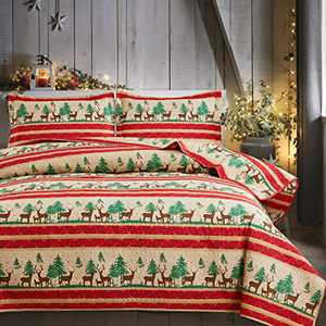 Moose Pinetree Striped Lightweight Quilt Set Queen(90 X 90in.) Elk Deer Pine Trees Red Stripe Country Bedspread Blanket Coverlet Bed Cover,Rustic Cabin Decorative Bedding Quilt Bedding Set (Queen,Red)