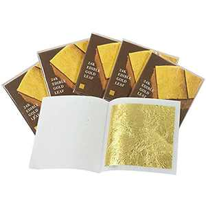KINGBOOM 24 Karat Edible Gold Leaf Sheets, 1.7×1.7 inches Genuine Gold Leaf, 10 Sheets Gold foil for Cupcakes,Candies,Chocolates and Skin Care