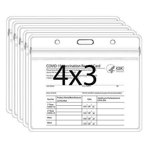 5 Pack Card Protector, 4 X 3 Inches Immunization Record Cards Holder, Plastic Sleeve with Waterproof Type Resealable Zip