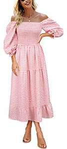 Women's Cottagecore Dress Boho Flowy Puff Sleeve Off The Shoulder Dress for Women Summer Casual Plaid Ruffle Midi Dress Pink