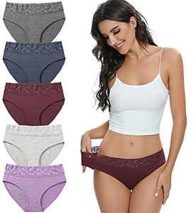 Womens Underwear Cotton Lace Briefs Panties Bikini Ladies Hipster Underpants for Women Breathable Soft (Solid color, L)