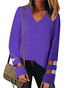 MYHALF Women's V Neck Long Sleeve Mesh Panel Blouse Casual Loose Shirt Tops Purple