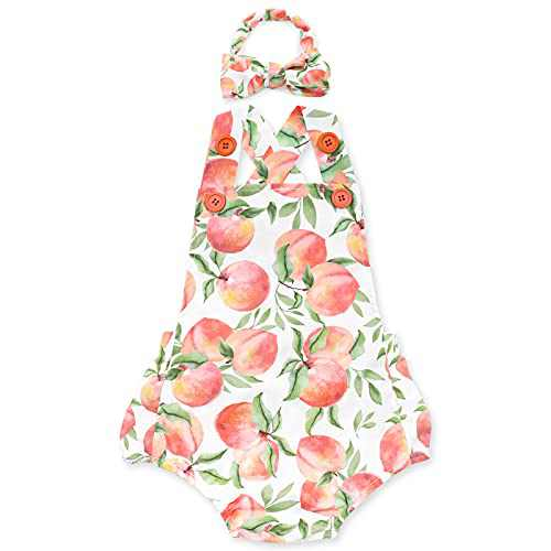 Peach Romper with Headband for Toddlers Baby Girls First Birthday Outfit Cake Smash Photoshoot Supplies Cute Backless JumpsuitSummer Outfit Clothes