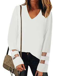 MYHALF Women's V Neck Long Sleeve Mesh Panel Blouse Casual Loose Shirt Tops White