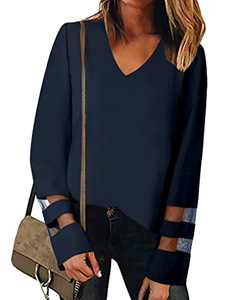 MYHALF Women's V Neck Long Sleeve Mesh Panel Blouse Casual Loose Shirt Tops Navy