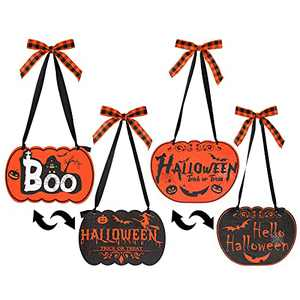 wartleves 2 Pcs Halloween Wood Hanging Signs Halloween Trick or Treat Wall Plaque Sign Double Sided Pumpkin Witch Ghost Wall Decor Welcome Door Hanger Sign for Party Indoor Outdoor House Decorations