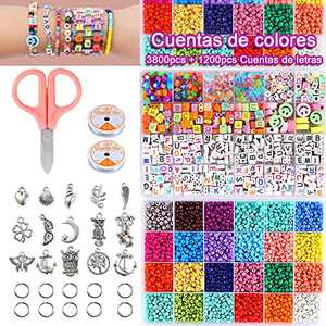 Bead Bracelet Making Kit,Single and Double Lines 3800pcs 24color Rainbow Beads and 1200 pcs Alphabet Beads with 2 Rolls Rope and Pendant,DIY Art Craft Glass Beads for Bracelet and Jewelry Making