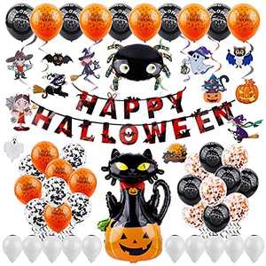 eZAKKA Halloween Party Decoration Supplies Set, 57 Pieces Halloween Decor Inclued Happy Halloween Banner, Latex Balloons and Hanging Swirls for Halloween Theme Party Birthday Party Hone Bar Decoration