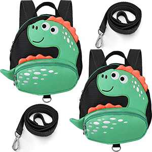 2 Sets Toddler Dinosaur Backpack with Anti-Lost Harness Child Backpack Kids Safety Walking Backpack and Leash for Boys and Girls