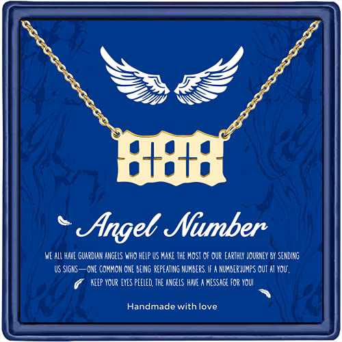 Angel Number Necklace For Women, Dainty Gold Plated 111 222 333 444 555 666 777 888 999 Old English Number Pendant Necklace Numerology Jewelry for Women Girls(888 Necklace Gold)