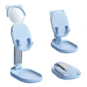SOARCHICK Portable Phone Stand for Desk Cute Bear Cell Phone Holder with Makeup Beauty Mirror for Girls Foldable Adjustable Height Angle Riser Compatible with iPhone, iPad, Tablet, Kindle, Switch Blue