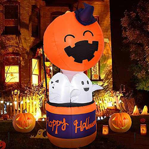 Halloween Party Decorations and Halloween Inflatables - 6FT Halloween Decorations Indoor with Pumpkin,Alien Party Decorations with Built-in Led Light