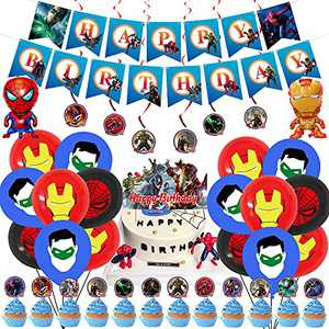 Superhero Avengers Party Supplies,Superhero Birthday Party Decorations,Birthday Party Supplies For Superhero Includes Avengers Birthday Banner - Cake Topper - Cupcake Toppers - Balloons and Swrils