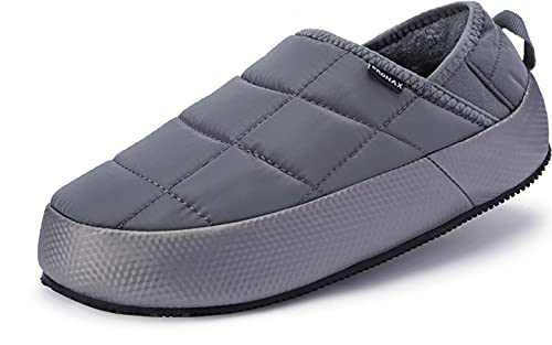 BRONAX Slippers for Mens With Arch Support Winter Indoor Non Slip Plush Garden Fur Lining Cozy Size 11 Wide Width Warm Comfortable Breathable Indoor Home Slides Lightweight Close Toe Bedroom Shoes Grey
