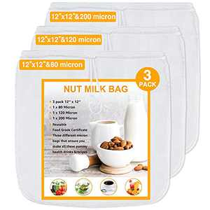 Geniusidea Nut Milk Bag 3 pack 80&120&200 Micron Reusable Mesh Strainer Bag for Nut Milk Juices Cold Brew Coffee Yogurt All Purpose Food Strainer 12''12'' Food Grade Nut Bags With Strong Fine Nylon