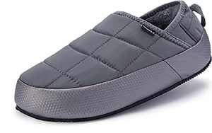 BRONAX MoccasinSlippers for Mens With Arch Support Outdoor Winter Non Slip Plush Garden Mocassins Fur Lining Size 9 Adult Fashion Warm Comfortable Indoor Home Slides Lightweight Bedroom Shoes Grey