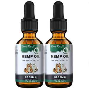 Hemp Oil for Dogs and Cats, for Dog Anxiety Relief , for Dog Calming, Pets Pain Relief,Pet Hemp Oil Extract Rich in Omega 3-6-9 & Vitamin B, E 2 Pack