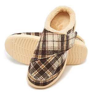 Plantar Fasciitis Slippers with Arch Support, Orthotic Slip-On House Shoes for Flat Feet Heel Pain with Adjustable Velcro, Non-Slip Sole and Warm Lining, Christmas Gifts for Men, Plaid Brown,Size 8