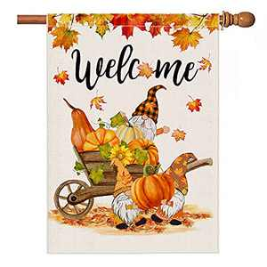 Fall Gnome House Flags 28 x 40 Double Sided, Fall Welcome Pumpkin Leaves Wheelbarrow Flag for Outdoors, Large Burlap Rustic Farmhouse Thanksgiving Home Decoration