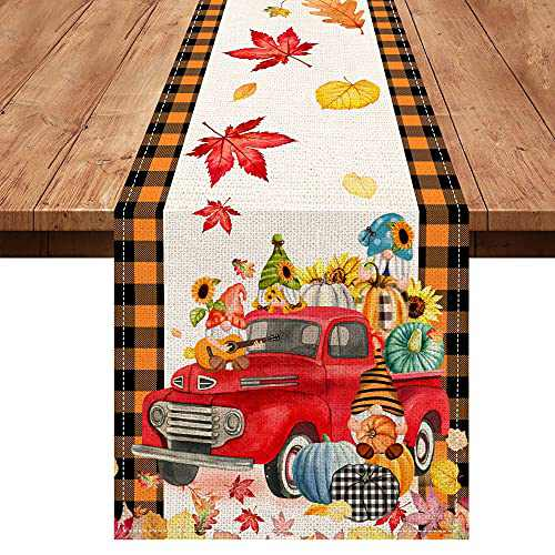 Hello Fall Table Runner, Autumn Harvest Pumpkin Gnomes Truck Burlap Table Runners, Fall Maple Leaf Farmhouse Table Cloth Decor for Home Party 13x72 Inches Long