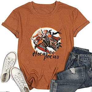 T&Twenties Women Hocus Pocus Halloween T-Shirt Casual Sanderson Sisters Squad Shirts Short Sleeve Graphic Tee Tops